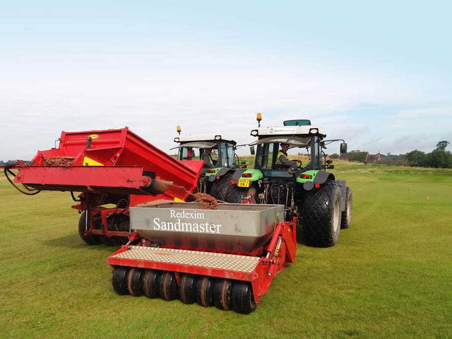 Secondary drainage on sports turf using a Sandmaster and tycrop sanding trailer