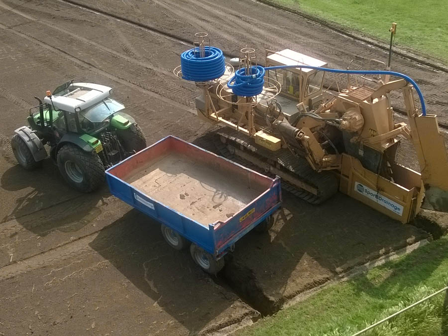 Sports field drainage using our 15 -15 Mastenbroek trencher